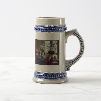 Mortar, Pestle and Bottles by Window Beer Stein