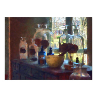Mortar, Pestle and Bottles by Window Card