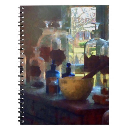 Mortar, Pestle and Bottles by Window Note Books