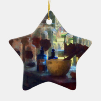 Mortar, Pestle and Bottles by Window Christmas Ornaments