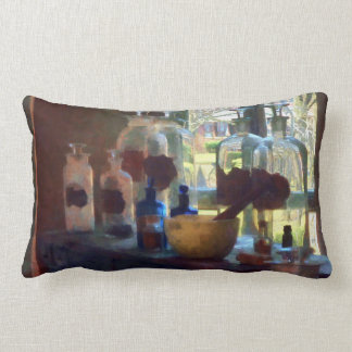 Mortar, Pestle and Bottles by Window Throw Pillow