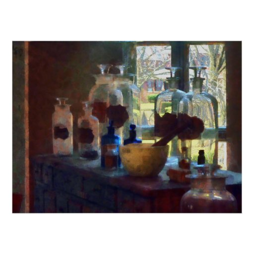 Mortar, Pestle and Bottles by Window Poster