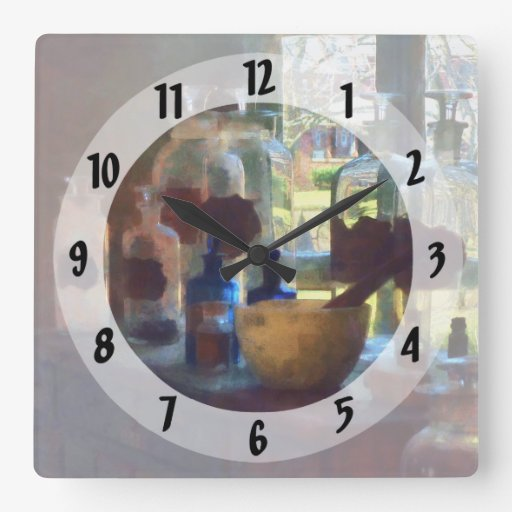 Mortar, Pestle and Bottles by Window Square Wall Clocks