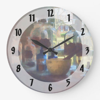 Mortar, Pestle and Bottles by Window Wall Clock