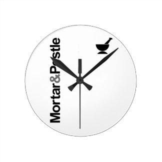 Mortar & Pestle Round Wall Clock