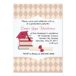 """Mortarboard and Books Graduation Party Invitation 5"""" X 7"""" Invitation Card"""