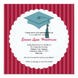 """Mortarboard Graduation Party Invitation 5.25"""" Square Invitation Card"""