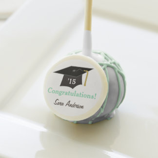Mortarboard, Mint Green Personalized Graduation Cake Pops