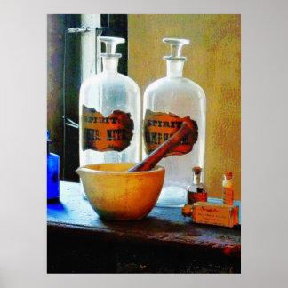 Mortero y maja con las botellas