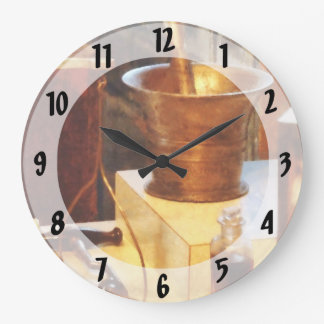 Mortero y maja de cobre amarillo reloj redondo grande