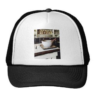 Mortero y maja en boticario gorras