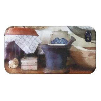 Mortero y maja en cocina iPhone 4 cárcasa