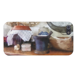 Mortero y maja en cocina iPhone 5 fundas