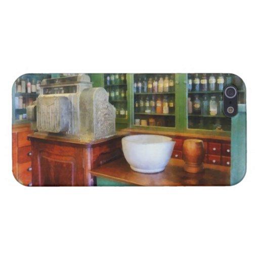 Mortero y maja en farmacia iPhone 5 carcasas