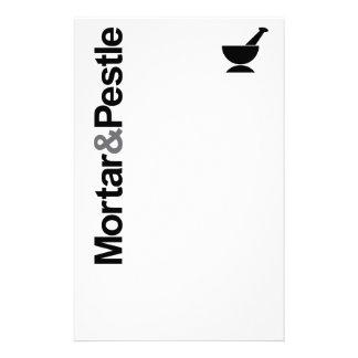 Mortero y maja  papeleria de diseño