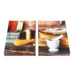 Mortero y maja y caja de cacao impresiones de lienzo