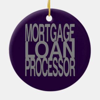 Mortgage Loan Processor in Tall Silver Text Ceramic Ornament