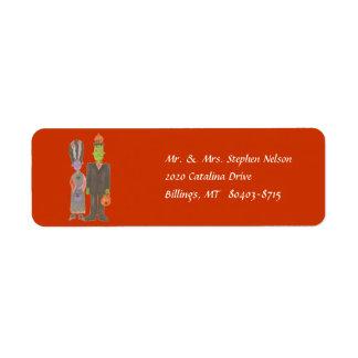 Morticia and Frankenstein Return Address Label