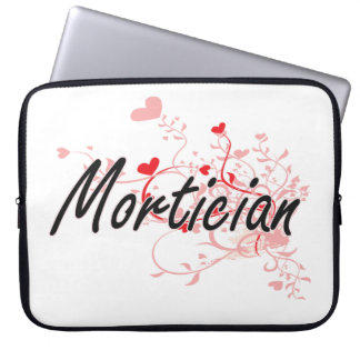 Mortician Artistic Job Design with Hearts Laptop Sleeve