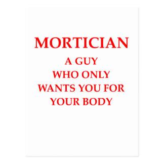 mortician joke postcard
