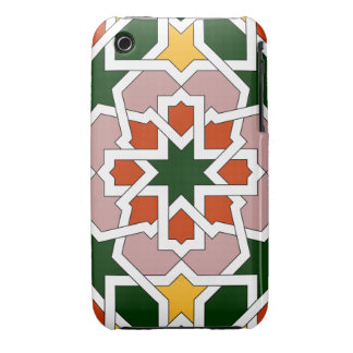 Mosaic 01 of green and red Moroccan geometry in