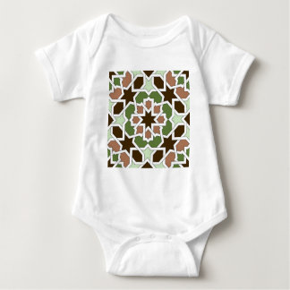 Mosaic 04 brown green arabesque landlord geometric baby bodysuit