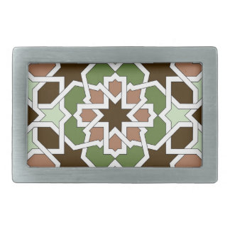 Mosaic 04 brown green arabesque landlord geometric belt buckle