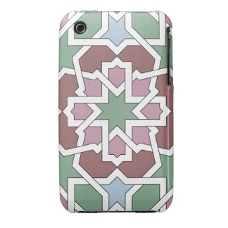 Mosaic 07 landlord of green and pink Arab geometry iPhone 3 Cover