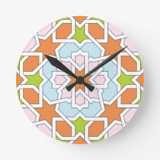 Mosaic 12 of Moroccan geometry orange and rose Round Clock