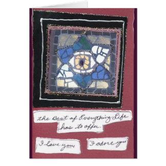 Mosaic 6 Hearts Star w/Evil Eye Hand Written Card
