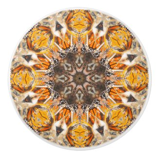 Mosaic Abstract Monarch Butterfly Mandala Pattern Ceramic Knob