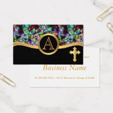 Mosaic Abstract Stain Glass | Golden Cross Business Card at Zazzle
