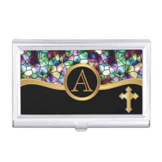 Mosaic Abstract Stain Glass | Golden Cross Case For Business Cards