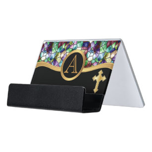 Stained glass business card holders zazzle mosaic abstract stain glass golden cross desk business card holder colourmoves