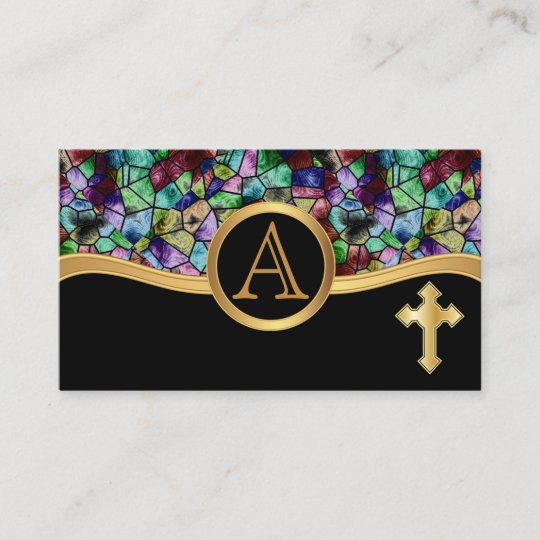Mosaic Abstract Stained Glass Golden Cross Business Card Zazzlecom