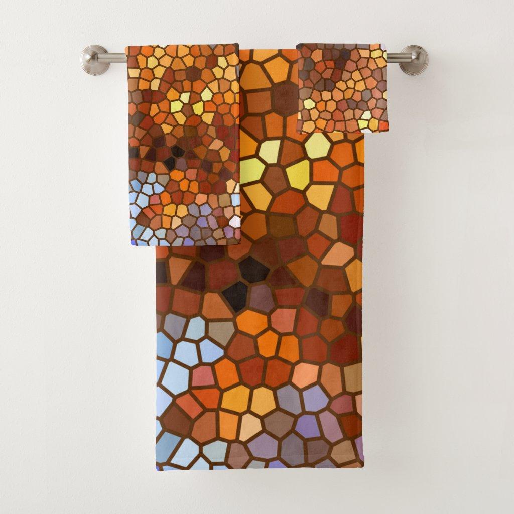 Mosaic Autumn Abstract Bath Towels