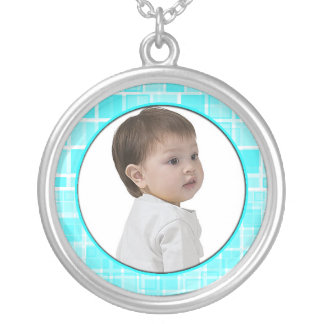 Mosaic Baby Blue Frame Necklace Add Photo