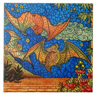 Mosaic Bat Print Ceramic Tile