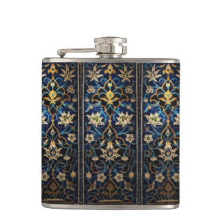 Mosaic Blue & Gold Floral Flask