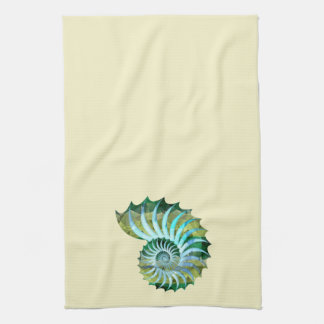Mosaic Blue & Green Nautilus Shell on Yellow Towels