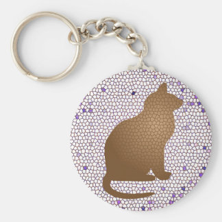 Mosaic Cat in Purple White and Brown Keychain