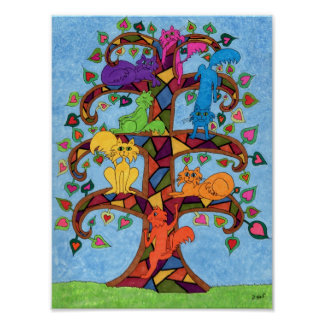 Mosaic Cat Tree of Life Poster