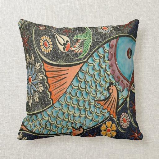 Mosaic ceramic fish throw pillow zazzle for Fish throw pillows