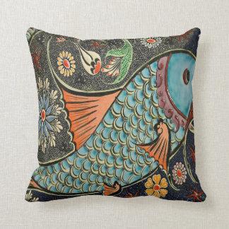 Mosaic ceramic fish throw pillow