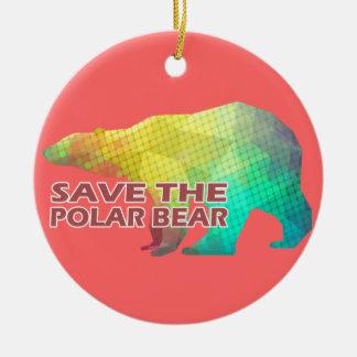 MOSAIC COLOR POLAR BEAR(SAVE THE POLAR BEAR) CERAMIC ORNAMENT