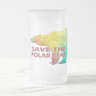 MOSAIC COLOR POLAR BEAR(SAVE THE POLAR BEAR) FROSTED GLASS BEER MUG
