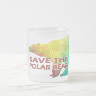 MOSAIC COLOR POLAR BEAR(SAVE THE POLAR BEAR) FROSTED GLASS COFFEE MUG