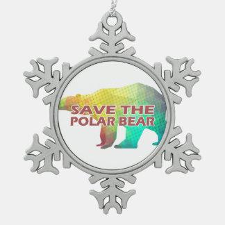 MOSAIC COLOR POLAR BEAR(SAVE THE POLAR BEAR) SNOWFLAKE PEWTER CHRISTMAS ORNAMENT
