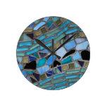mosaic colored glass stone art clock
