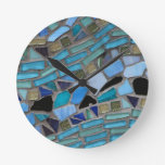 mosaic colored glass stone art clock